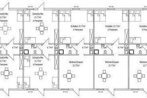 Die Wohnungen der Unterkunft sind von beiden Seiten begehbar, in der Mitte liegen Küche und Bad. Einzelne Wohnungen können auch abgeschlossen werdenQuelle: Stadt Rheda-Wiedenbrück