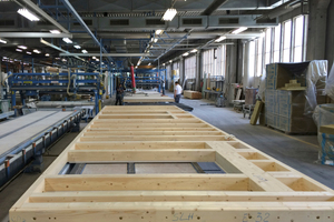Vorfertigung der Holzrahmenelemente