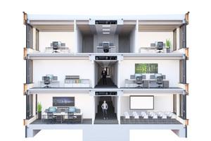 Schnitt durch die möglichen drei Stockwerke, die mit dem iBuilding-Konzept gebaut werden können Quelle: Brüninghoff