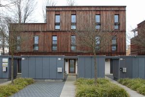 Rechts: Diese Reihenhäuser haben eine Fassade aus geflämmtem Lärchenholz, das anschließend gebürstet wurde