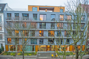 Wohnungsbauprojekt in Berlin: Der fünfgeschossige Holzbau stellt eine intelligente Mischkonstruktion aus Holzskelett-, Holzrahmen- und Brettsperrholzbauweise dar