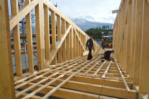 """Die Seitenwände der Brücke bestehen aus Fachwerkbindern, die der Rampe aus einer Mischung von Holz-skelett- und Holzrahmenbau<span class=""""bildnachweis"""">Fotos: Bollinger+Grohmann</span><p><strong></strong></p>"""
